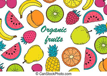 Card with colorful fruits