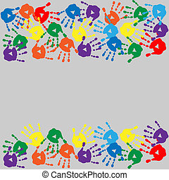 Card with colorful handprints