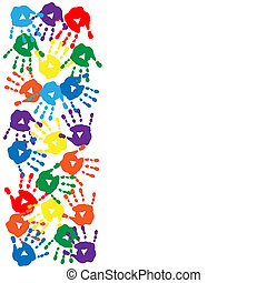 Card with colorful handprints on the white background