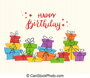 Card with Colorful Presents and Lettering Happy Birthday