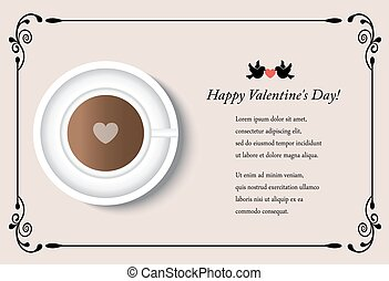 card with cup of coffee on Valentine's Day