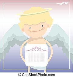Card with cupid to Valentine Day