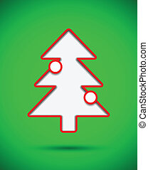 Card with cut out christmas tree with baubles