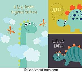 Card with cute dino