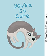 card with cute gray cat on a blue background vector design.