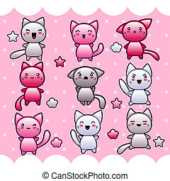 Card with cute kawaii doodle cats.