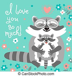 Card with cute raccoons and a declaration of love. Vector...