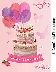 card with cute strawberry Birthday Cake vector