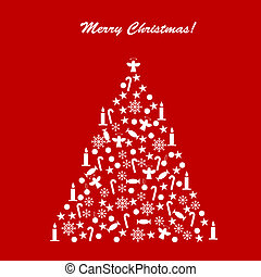 Card with decorated Christmas tree over red background