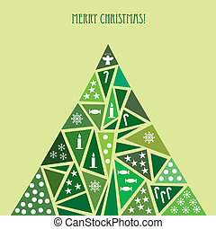 Card with decorated green Christmas tree