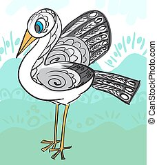 Card with decorative stork for your design. Vector
