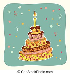 Card with doodle colorful birthday cake