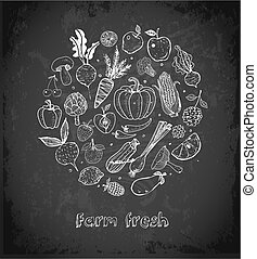 Card with Doodle fruits and vegetables on blackboard background. Vector sketch illustration of healthy food