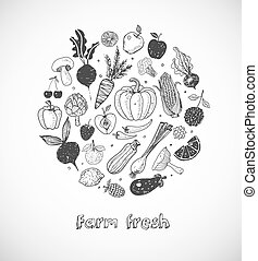 Card with Doodle fruits and vegetables on white background. Vector sketch illustration of healthy food