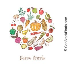 Card with Doodle fruits and vegetables on white background. Vector sketch illustration of healthy food.