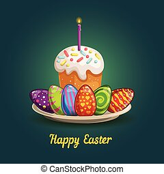 Card with Easter eggs and cake