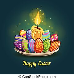 Card with Easter eggs and candle