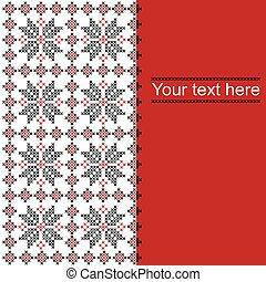 Card with ethnic ornament pattern in white,red and black colors