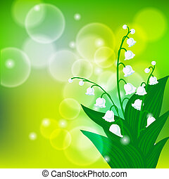 Card with field of lily-of-the-valley flowers - Vector...