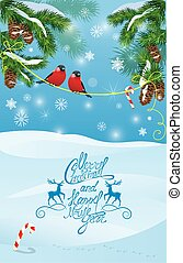 Card with fir tree branches and bullfinch birds on light blue sk