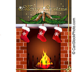 card with fireplace and three christmas boots