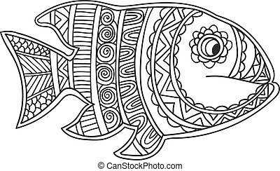 Card with fish. Coloring book page for adults and child.