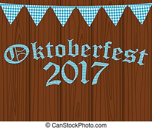 Card with flags for the Oktoberfest holiday