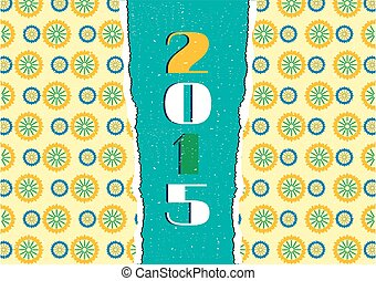 Card with floral pattern, text year 2015