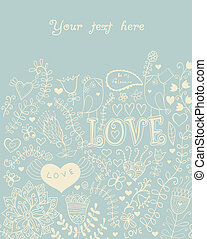 Card with flowers and butterflies, floral pattern.