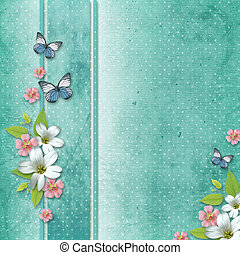 card with flowers and butterfly for congratulation to...