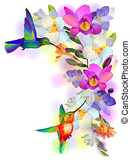 Vector greeting background with flitting humming-bird which brings gentle branch of beautiful pink orchids