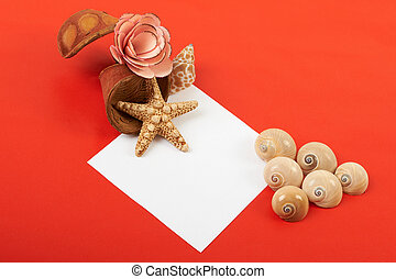 Card with flowers and shells