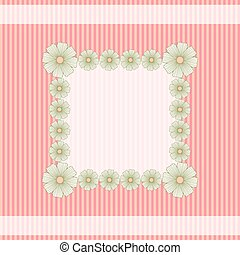 Card with flowers on striped background