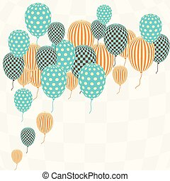 Card with flying balloons in retro style.