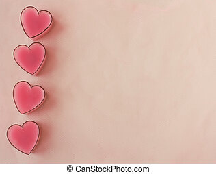 Card with four pink hearts