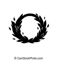 Card with frame leaves, black silhouette