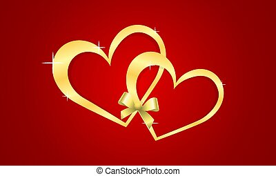 card with frame of hearts on a red background