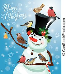 Card with funny snowman and birds on blue snow background, cartoons for winter, Christmas or New Year design. Hand written text Merry Christmas.
