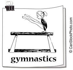 Card with girl doing gymnastics