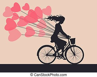 Card with girl on bike