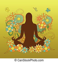 card with girl silhouette in yoga lotus pose on floral...