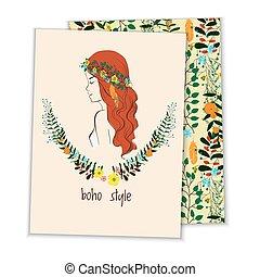 card with girl, wreath boho style