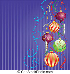 Card with glossy balls - Christmas greeting card with...