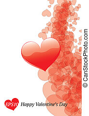 Card with glossy hearts