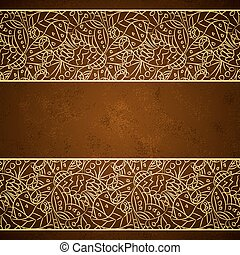 Card with gold floral ornament on brown grunge background