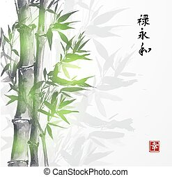 Card with green bamboo in sumi-e style. Hand-drawn with ink. Contains hieroglyphs happiness, well-being, eternity, harmony