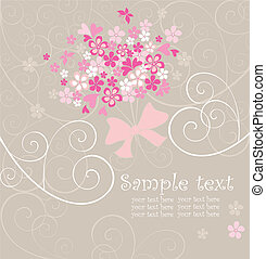 Card with greeting bouquet