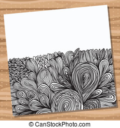 Card with hand drawn abstract doodles.
