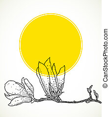 Card with hand drawn magnolia on yellow circle