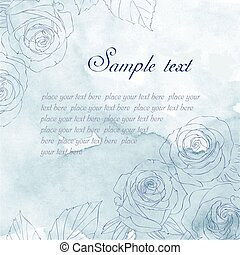 Card with hand-drawn roses on blue watercolor background....